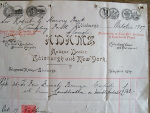 invoice from Adams antiques