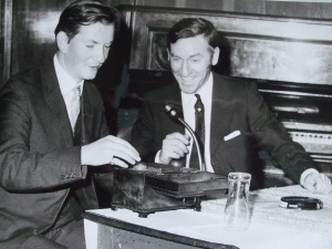 Bill Beaton (right) with Henry Fotheringham, c.1965. Copyright Perthshire Advertiser.