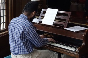 Japji....our music student, from the University of Leeds, playing the historic Broadwood piano